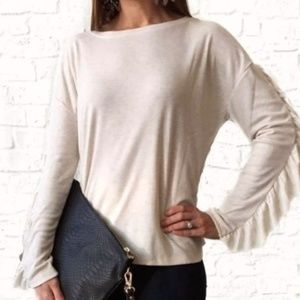 Sanctuary Leona Ivory Ruffled Tee Shirt Top
